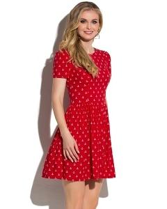 Красное короткое платье с якорями Donna Saggia DSP-65-53