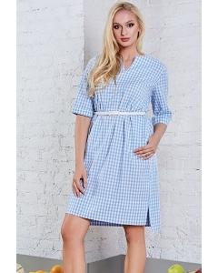 Летнее платье в мелкую голубую клетку TopDesign A8 071