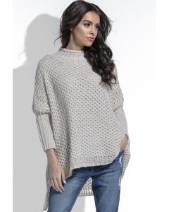 Бежевый свитер крупной вязки Fobya F460