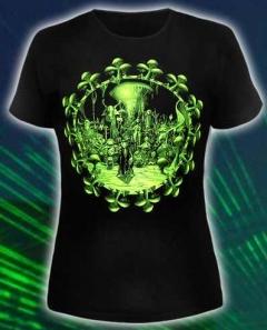 (Светится в ультрафиолете) Женская клубная футболка