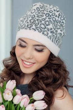 Женская шапка Landre Саванна (пудра/серый)