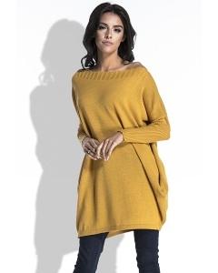 Удлиненный свитер с карманами медового цвета Fobya F444