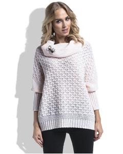 Розовый свитер с брошью в виде паука Fimfi I227