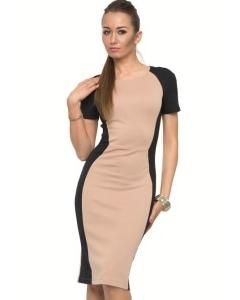 Бежево-черное платье | DSP-95-24t