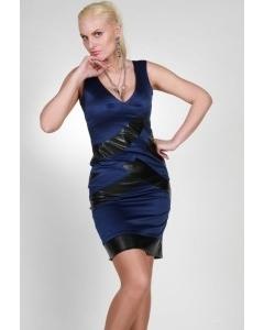 Короткое синее платье с кожаными вставками