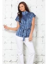 Сине-голубая атласная блузка
