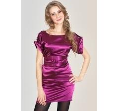 Атласное платье цвета фуксия