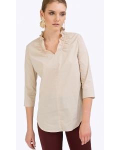 Бежевая блузка из стрейч-коттона Emka B2333/mavli