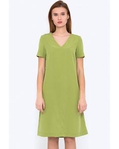 Зеленое платье с V-образным вырезом Emka PL-587/meiko