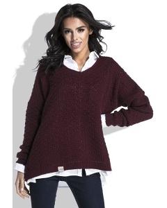 Женский свитер бордового цвета Fobya F449