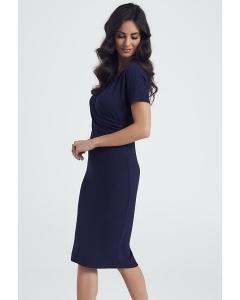Тёмно-синее платье из рельефного трикотажа Ennywear 250061