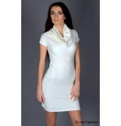 Белое трикотажное платье Yiky Fashion