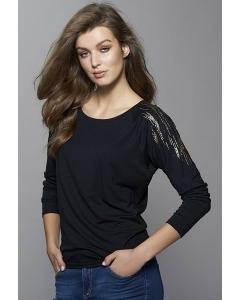 Чёрная женская блузка с длинным рукавом Zaps Libby