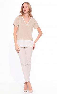 Двухслойная бежевая блузка Sunwear W66