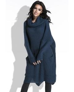 Длинный тёплый свитер тёмно-синего цвета Fobya F445