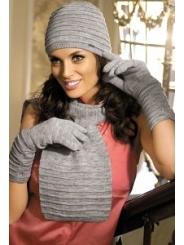 Комплект (шапка+шарф+перчатки) серого цвета Kamea Gloria