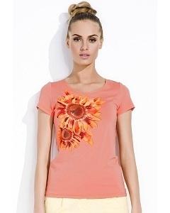 Белая блузка с оранжевым цветком Zaps Sunny