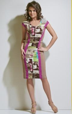 Летнее платье с принтом TopDesign A4 140