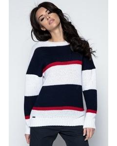 Женский классический свитер в полоску Fobya F483