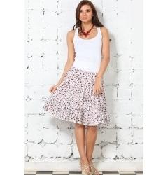 Белая юбка в мелкий цветок