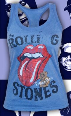 """Стильная голубая женская майка """"Rolling Stones"""""""