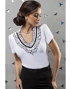Белая блузка Enny с жабо | 15040