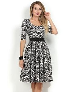Чёрно-белое трикотажное платье Donna Saggia DSP-175-16t