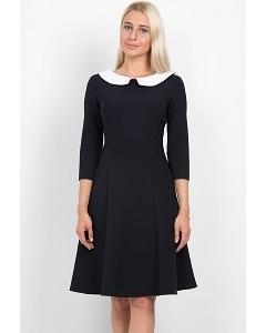 Тёмно-синее платье с белым воротничком Emka Fashion PL-431/olesya