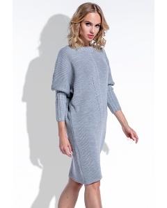 Тёплое платье серого и рукавами-манжетами цвета Fimfi I192