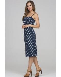 Тёмно-синее платье в белый горох Donna Saggia DSP-326-84