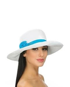 Бело-бирюзовая шляпа Del Mare 001-02.38