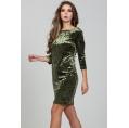 Бархатное платье оливкового цвета Donna Saggia DSP-312-59t