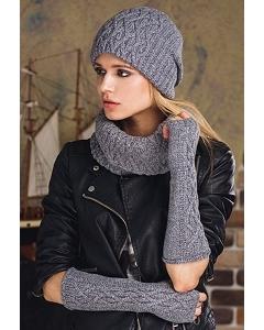 Комплект шапка+снуд+митенки SuperShapka Ice (серый)