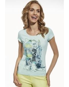 Женская мятная футболка с арт принтом Briana 8803