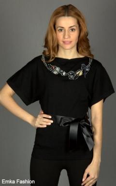 Модный черный джемпер Yiky Fashion