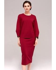 Красная юбка из трикотажа TopDesign B7 129