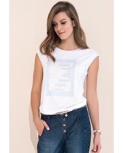 Белая летняя женская блузка без рукавов Zaps Scarlet