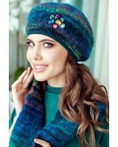 Вязанный комплект (берет + шарф) синего цвета Landre Буржуа
