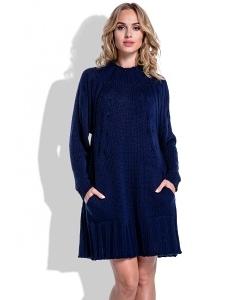 Тёплое вязаное платье тёмно-синего цвета Fimfi I194