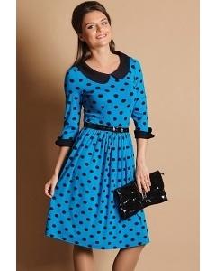 Синее платье в черный горох TopDesign B5 016