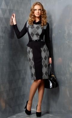 Черно-серое платье TopDesign B3 001