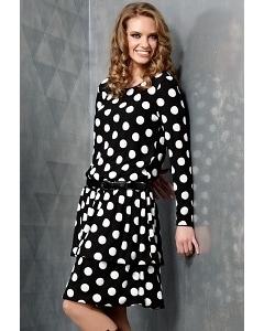 Черное платье в белый горох TopDesign B3 054