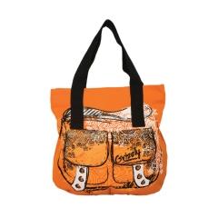 Оранжевая сумка с чёрными ручками Grizzly | Л-91