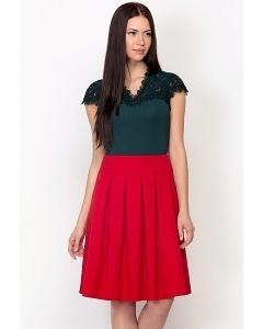 Красная юбка в складку Emka-Fashion 552-galateya