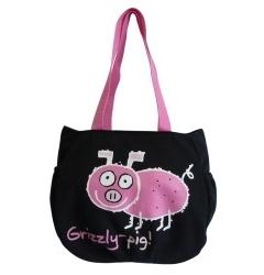 Черная сумка с принтом Grizzly | ДМ-1242