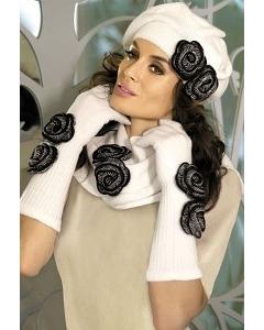 Комплект (берет+шарф) белого цвета Kamea Larissa