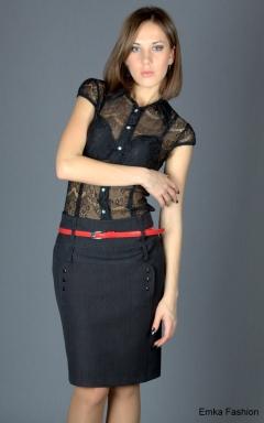 Офисная юбка темно-серого цвета