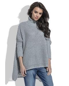 Серый свитер крупной вязки Fobya F460