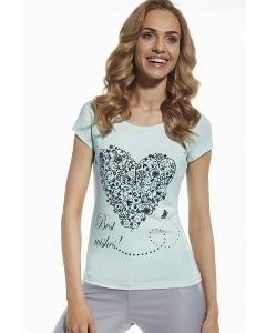 "Женская футболка мятного цвета ""Best wishest..."" Briana 8801"