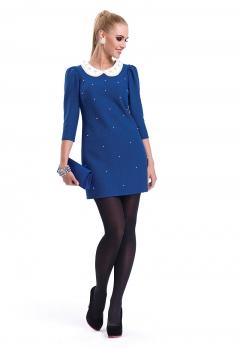 Синее платье с белым воротничком Zaps Atena